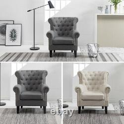 Occasional Wing Chair High Back Linen Fabric Tub Chair Fireside Armchair Lounge