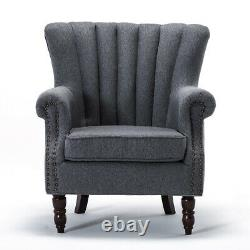 Occasional Wing Chair High Back Lounge Linen Fabric Tub Chair Fireside Armchairs