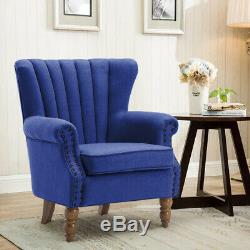 Occasional Wing Chair High Back Stud Fabric Tub Fireside Armchair Lounge Chair