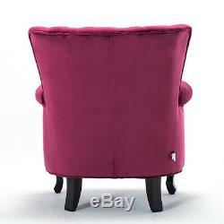 Occasional Wing Chair High Back Velvet Fabric Tub Armchair Fireside Living Room