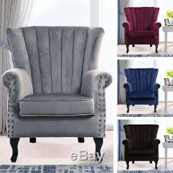 Occasional Wing Chair High Back Velvet Fabric Tub Chair Fireside Armchair Lounge