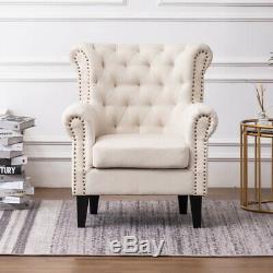 Orthopeadic Chesterfield Diamond Button Wing Rivet Armchair Sofa Fireside Chair