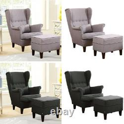 Orthopeadic High Back Wingback Queen Anne Fireside Chair Armchair Free Footstool