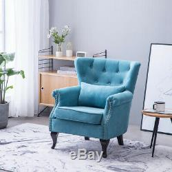 Orthopeadic Soft Fabric Wing Back Chair Armchair Fireside Queen Anne Legs Sofa