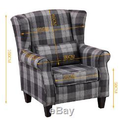 Orthopeadic Tartan Fabric High Wing Back Chair Checked Fireside Winged Armchair