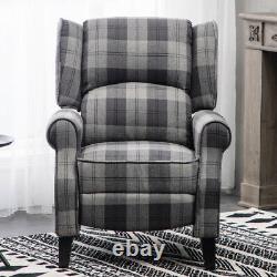 Orthopedic Fireside Recliner Tartan Check Armchair Easy Movies Cinema Chair Seat