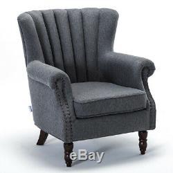 Orthopedic Occasional Velvet Linen Wing Back Oyster Armchair Sofa Fireside Chair