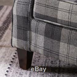 Orthopedic Tartan High Back Wingback Armchair Sofa Checked Chair Fabric Fireside