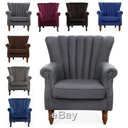 Orthopedic Upholstered Wing Back Fireside Chair Velvet Fabric Armchair Sofa Seat
