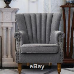 Orthopedic Upholstered Wing Back Fireside Lounge Sofa Chair Fabric Armchair Seat