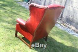 Oxblood Leather Chesterfield Armchair High Back Wing Back Fireside Vgc