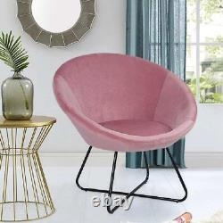 Oyster Velvet Accent Tub Chair High Wing Back Fireside Armchair Padded Seat Sofa