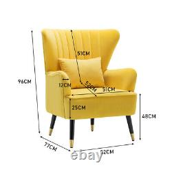 Oyster Velvet Armchair Scalloped Wing Back Tub Chair Lounge Fireside Sofa Yellow