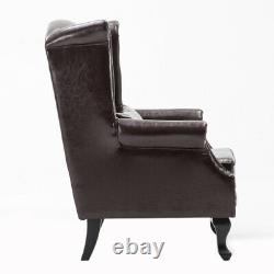 PU Leather Chesterfield Armchair Brown Dark High Back Fireside Wing Accent Chair