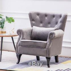 Padded Velvet Recline Chair Fabric Fireside Armchair Wingback Lounge Living Room