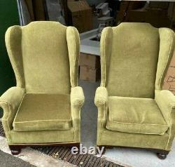 Pair Antique Queen Anne Style Victorian Wing Back Fireside Chairs Green Velour