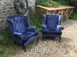 Pair Blue Chesterfield 2 Armchairs Queen Ann High Back Wing Chair Fabric Firesid