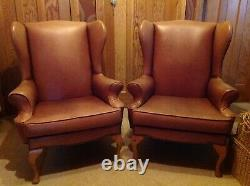 Pair Of Chesterfield Leather Wingback Fireside Armchairs (2 Armchairs)