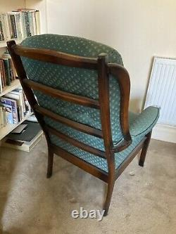 Pair Of Fireside Armchairs Excellent Condition, Silk Upholstered, Hard Wood