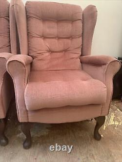 Pair Of Fireside Chairs Winged Back Queen AnnLovely Pink Chairs Good Condition