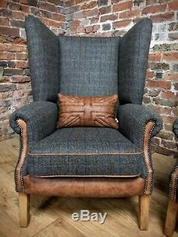 Pair Of Fireside Harris Tweed Wingback Armchairs