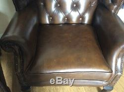 Pair Of Queen Anne Style Wingback Brown Leather Fireside Chairs Armchair