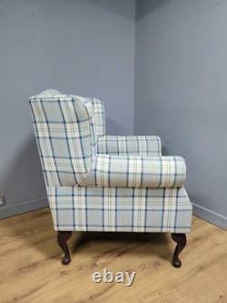 Pair Of Tartan Wing Back Armchairs Club Chairs Fireside Chairs Queen Anne Legs