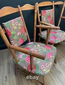 Pair Vintage Large Antique Pine Carver Chairs Fireside Farmhouse