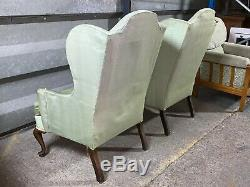 Pair of 2x vintage antique Queen Anne wingback armchairs parlour fireside chairs