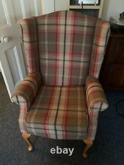 Pair of High Wing Back Queen Anne Fireside chairs