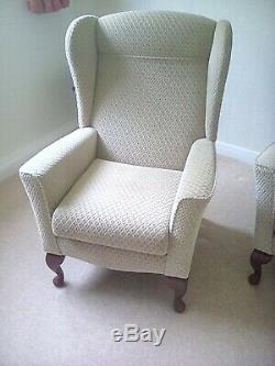 Pair of Wing Back Fireside Fabric Lounge Armchairs