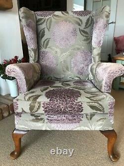Parker Knoll Fireside Chair in Sanderson Velvet Ceres & J Brown Modena Fabric