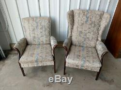 Parker Knoll Vintage Retro Pair Of His & Hers Chairs Seats Wing Back Fireside