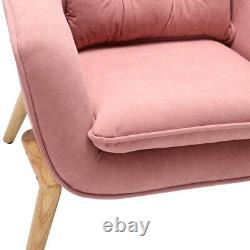 Pink Upholstered Armchair Lounge Wing Back Oyster Tub Chair Fireside Sofa Modern