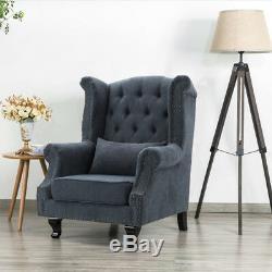 Plush Chesterfield Wingback Queen Anne High Back Fireside Armchair Chair Cushion