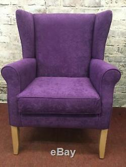 Purple winged fireside chair Quality British Made one only display offer