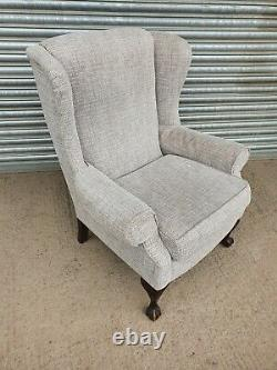 Quality Wingback Fireside Armchair With Ball & Claw Feet