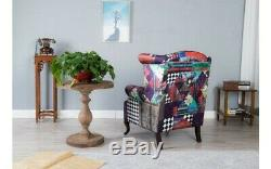 Queen Anne Chair Patchwork Vintage Armchair High Back Wing Fireside Sofa Antique