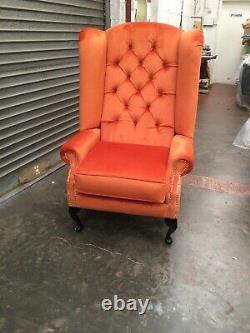 Queen Anne Extra High back Wing fireside Velvet Chair. Many Colours Available