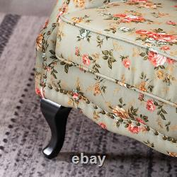 Queen Anne Floral Fabric padded Armchair Fireside Wingback Chair With Cushion
