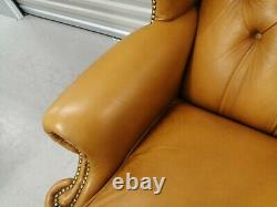 Queen Anne Light Tan Chesterfield Leather Wingback Chair Wing Back, Fireside