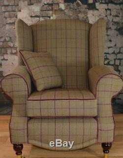 Queen Anne Wing Back Cottage Fireside Chair Bamburgh Brown Check Fabric