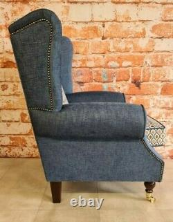 Queen Anne Wing Back Cottage Fireside Chair Blue and Orange Honeycomb Design