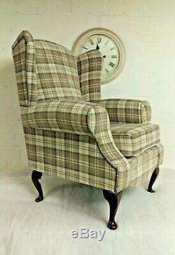 Queen Anne Wing Back Cottage Fireside Chair Cream & Brown Latte Lana Tartan