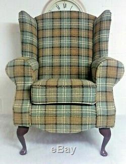 Queen Anne Wing Back Cottage Fireside Chair Duck Egg Blue Lana Tartan Fabric