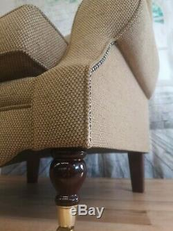 Queen Anne Wing Back Cottage Fireside Chair -Golden Brown Weave Effect Fabric