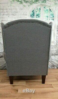 Queen Anne Wing Back Cottage Fireside Chair Grey Herringbone Fabric