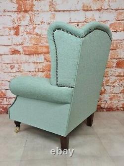 Queen Anne Wing Back Cottage Fireside Chair Jade Green Weave Effect Fabric