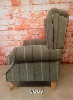 Queen Anne Wing Back Cottage Fireside Chair Lana Duck Egg Stripe Light Wood Legs