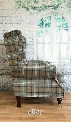 Queen Anne Wing Back Cottage Fireside Chair Lana Duck Egg Tartan Dark Wood Legs
